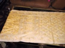"VINTAGE PALE LEMON COTTON TABLE RUNNER WITH YELLOW GOLD EMBROIDERY 64"" X 17.5"""